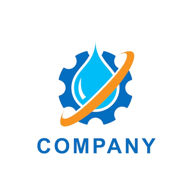 Illustration of blue water drop with gears cogs. vector logo design template. abstract concept for ecology theme, green eco energy, technology and industry. Premium Vector