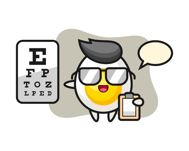 Illustration of boiled egg mascot as a ophthalmology Premium Vector