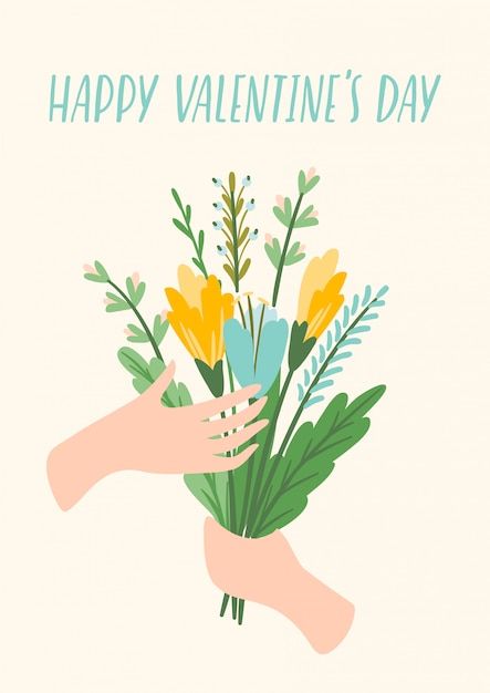 Illustration bouquet of flowers.  design  for valentines day Premium Vector