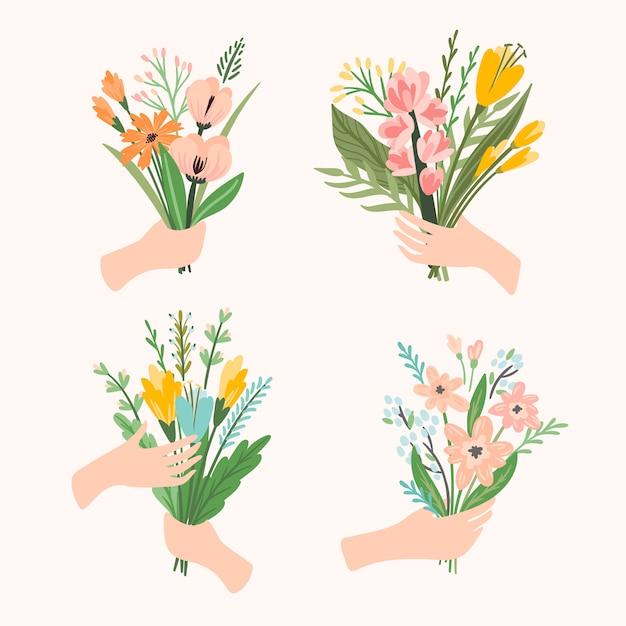 Иллюстрация букеты цветов в руках Premium векторы