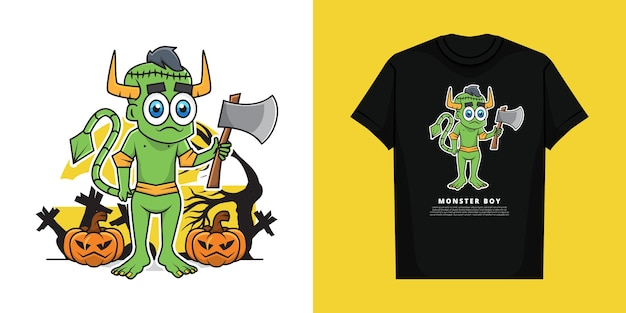 Illustration of boy wearing monster costume in the halloween day with t-shirt  design Premium Vector