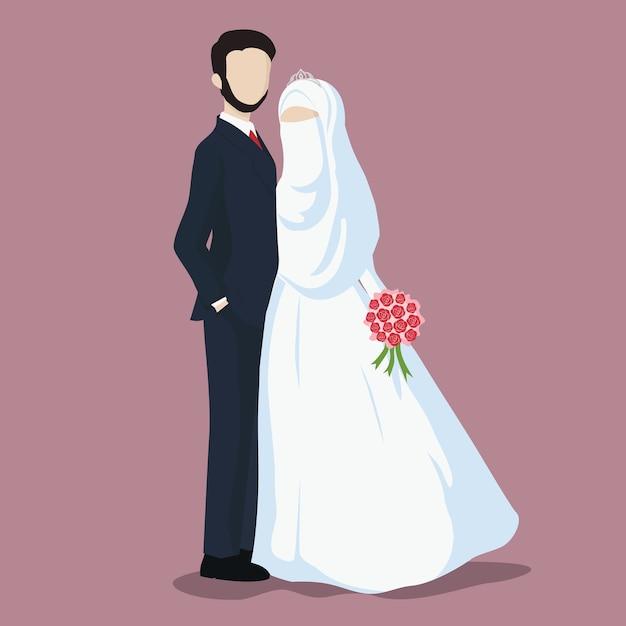 Illustration of bride and groom cartoon. Premium Vector