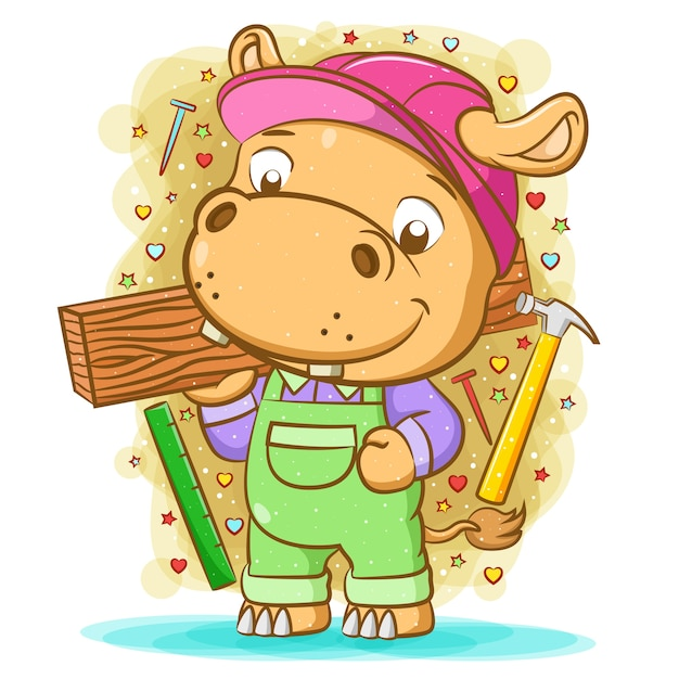 The illustration of the brown hippopotamus use the green overall and hold the wood Premium Vector