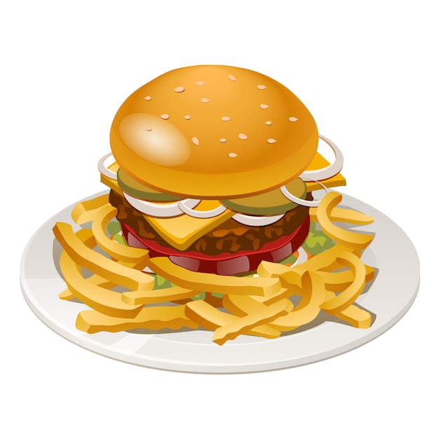 Illustration of burger with fries, tomato, onion and cheese Premium Vector