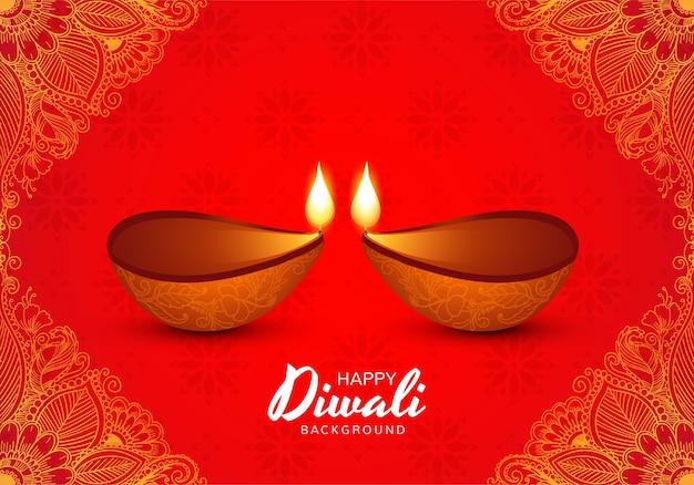 Illustration of burning diya on happy diwali holiday background Free Vector