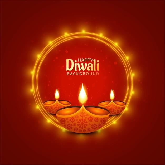 Illustrazione di bruciare diya su sfondo felice vacanza diwali Vettore gratuito