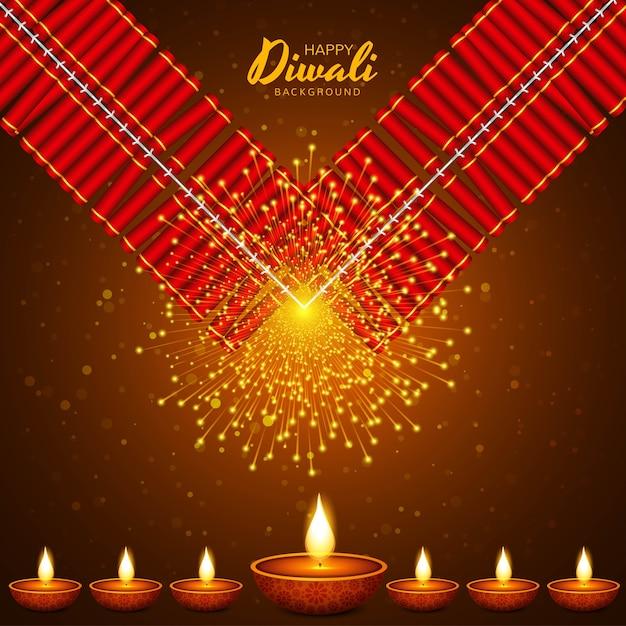 Illustration of burning diya on happy diwali holiday Free Vector