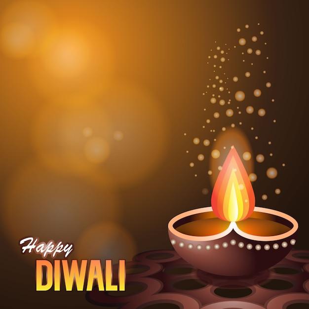 Illustration of burning diya, on happy diwali Premium Vector