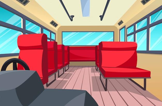 Illustration of the bus interior, cartoon style Premium Vector