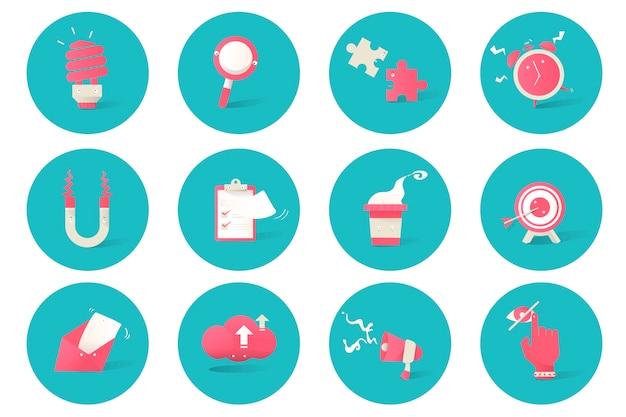 Illustration of business icons set on blue background Free Vector