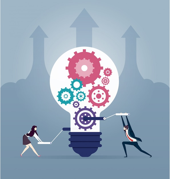 Illustration of business people creative idea. creating ideas and teamwork concept Premium Vector