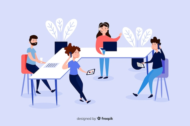 Illustration of business people at desks Free Vector