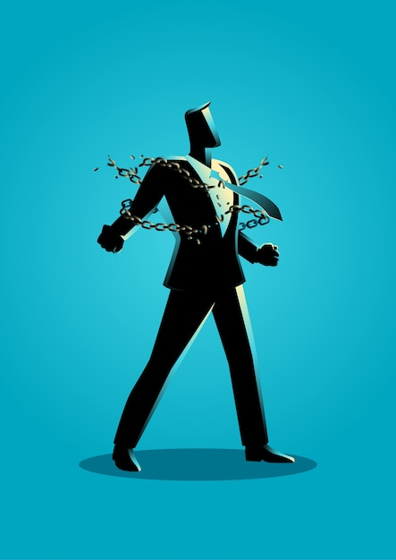 Illustration of a businessman breaking chains Premium Vector