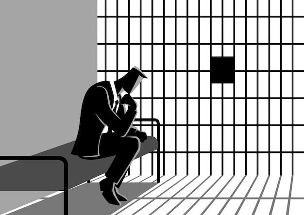 Illustration of a businessman in jail Premium Vector