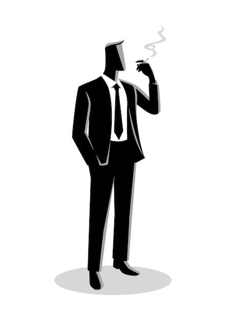 Illustration of a businessman smoking Premium Vector