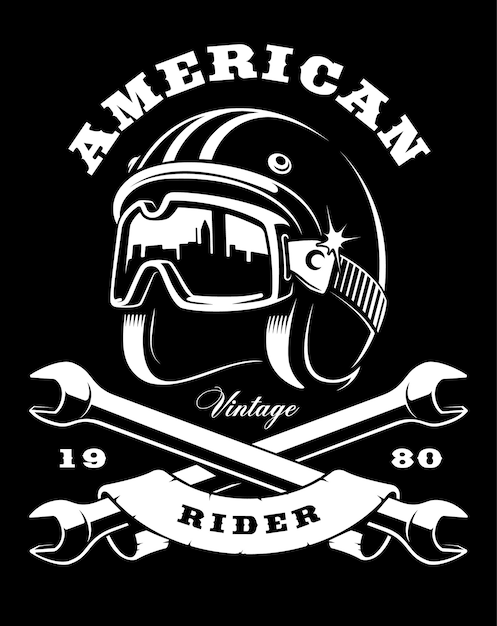 Illustration of cafe racer helmet with goggles. text is on tte separate layer. (version on dark background) Premium Vector