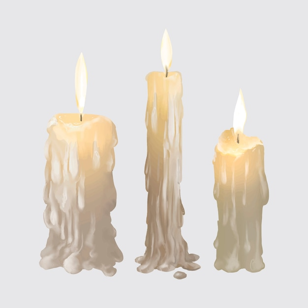 Illustration of candles icon for halloween Free Vector