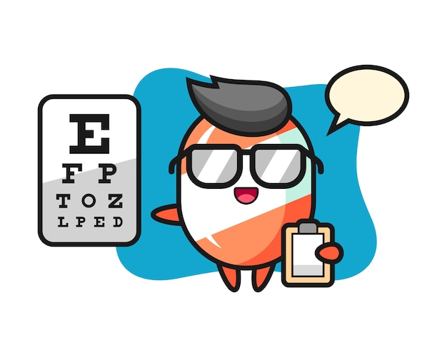 Illustration of candy mascot as a ophthalmology Premium Vector