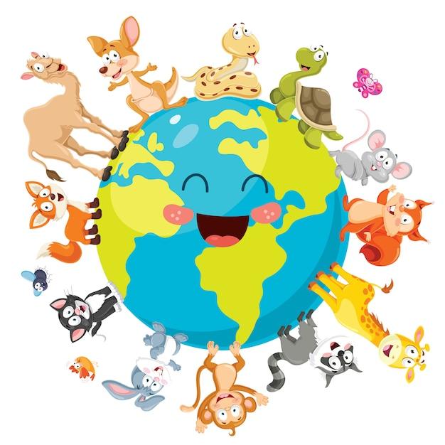Illustration of cartoon animals Premium Vector