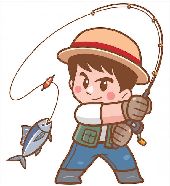 Illustration of cartoon boy fishing Premium Vector