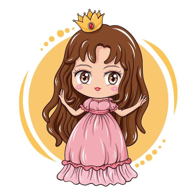 Illustration of cartoon character cute girl Premium Vector