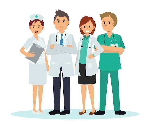 医療チームとスタッフ、医師看護師のイラスト漫画のキャラクター Premiumベクター