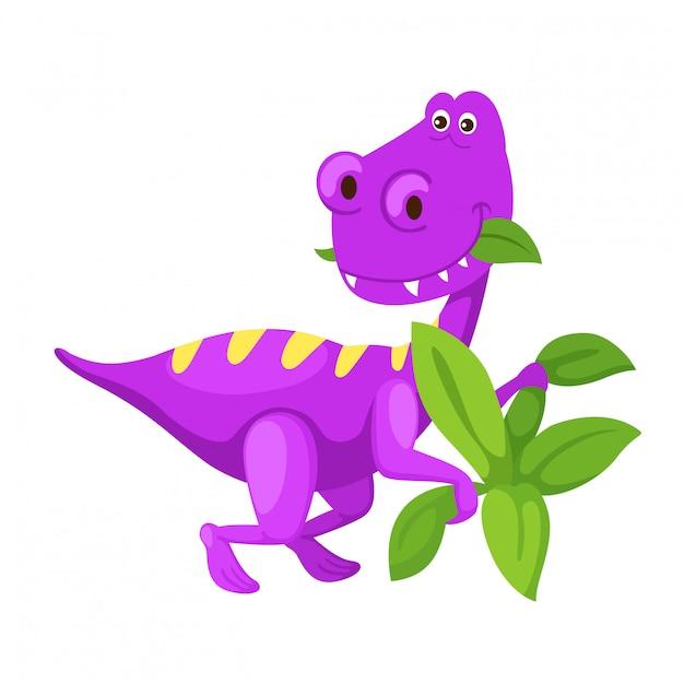Illustration cartoon cute dinosaur isolated on white background Premium Vector