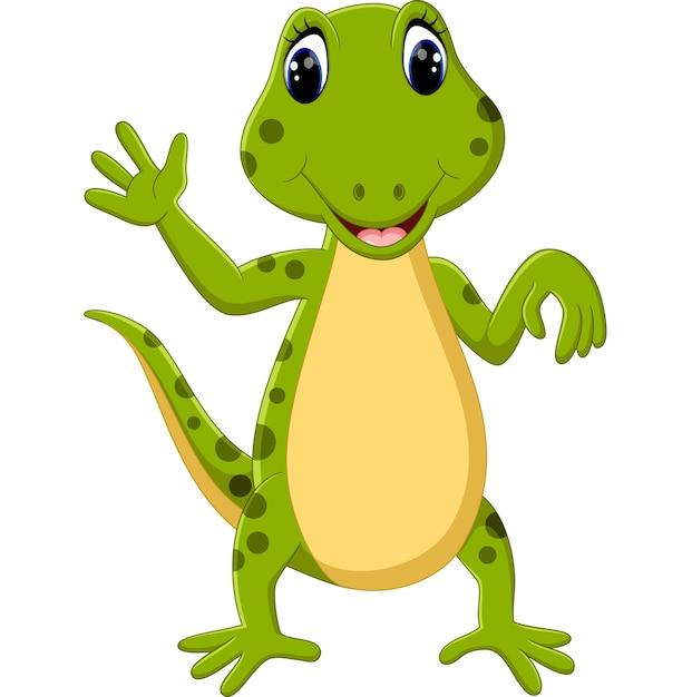 Illustration of cartoon cute lizard Premium Vector
