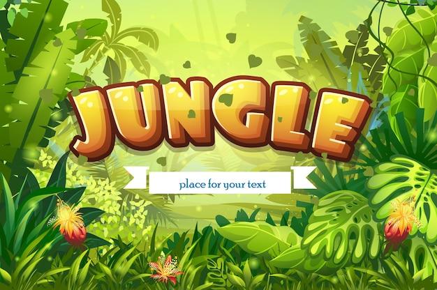 碑文とリボンのイラスト漫画ジャングル Premiumベクター