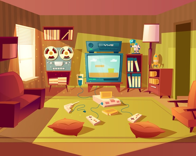Illustration of cartoon living room at 80s, 90s. video games, vhs recorder for children. Free Vector