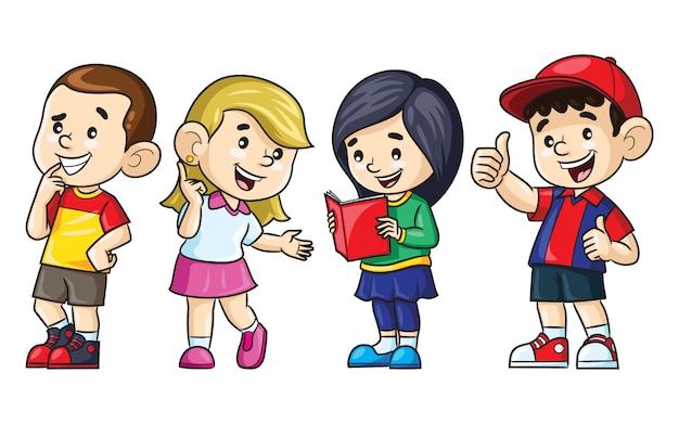 Мультфильм иллюстрации милых мальчиков и девочек. Premium векторы