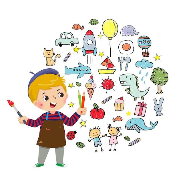 白い背景に色鉛筆とブラシで絵を描く少年アーティストのイラスト漫画。 Premiumベクター