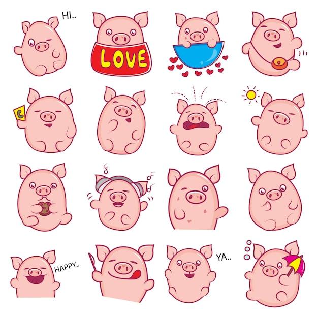 Illustration of cartoon pig set Premium Vector