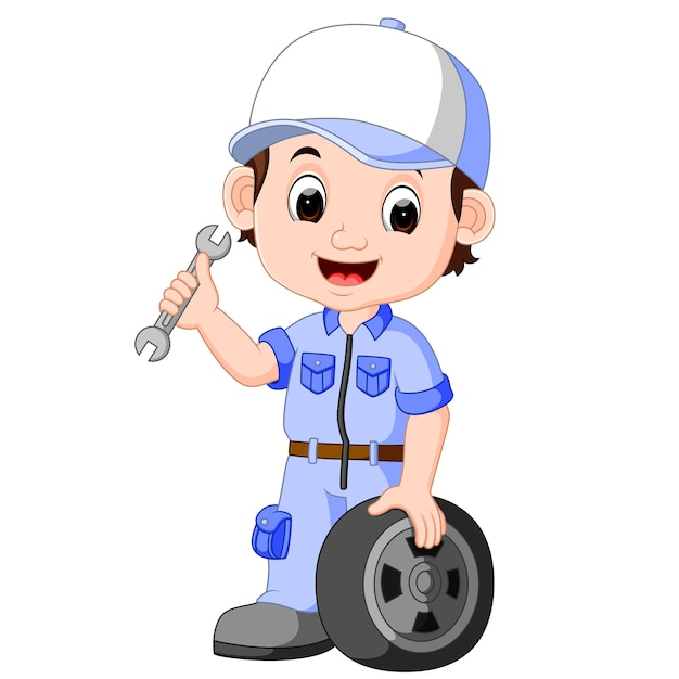 Illustration of cartoon serviceman Premium Vector
