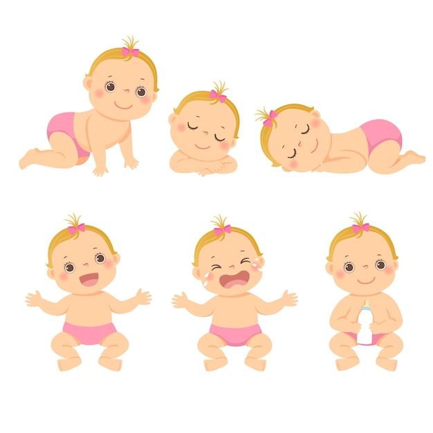 Illustration cartoon set of cute little baby or toddler girl in different activity. Premium Vector