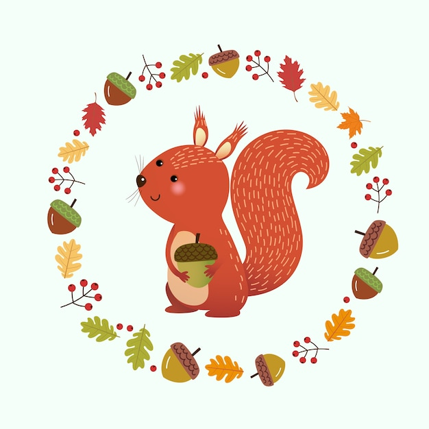 Illustration cartoon squirrel with wreath made of autumn leaves and berries. hello autumn background. Premium Vector