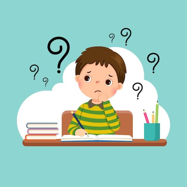 Illustration of a cartoon stressed little boy doing hard homework on the desk. Premium Vector