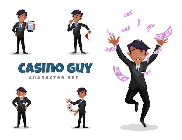 Illustration of casino guy character set Premium Vector