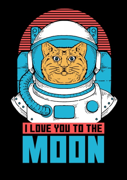 Illustration of cat astronaut ready to do space exploration . Premium Vector