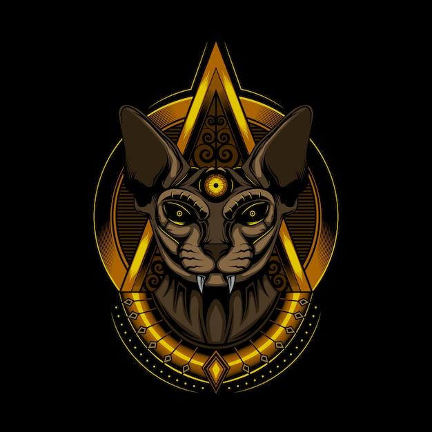 Illustration cat pharaoh sphinx Premium Vector