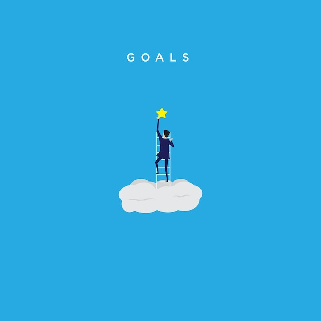 Illustration of catching business goal Premium Vector