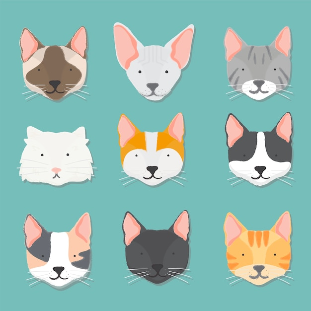 Illustration of cats collection Free Vector