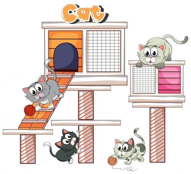 猫の家で遊ぶイラスト猫 無料ベクター