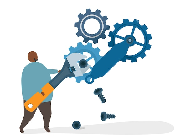 Illustration of a character fixing a cogwheel Free Vector