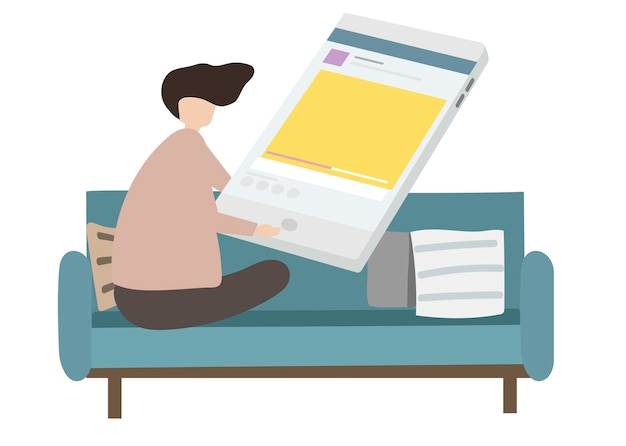 Illustration of character surfing the internet Free Vector