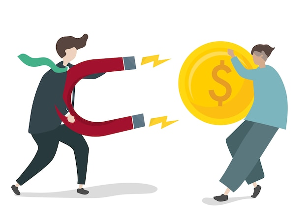 Illustration of character with business investment concept Free Vector