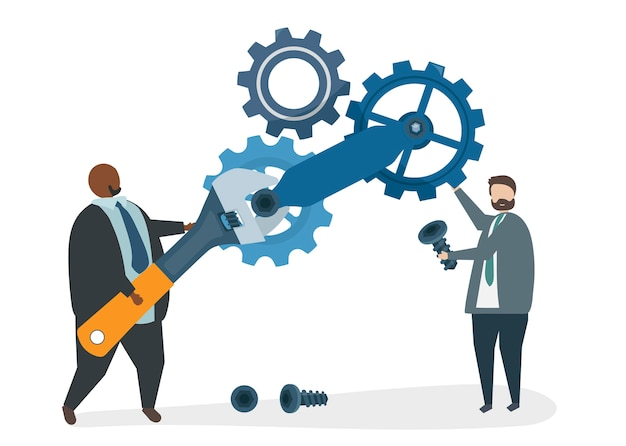 Illustration of characters fixing a cogwheel Free Vector