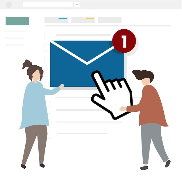 Illustration of characters sending an email Free Vector
