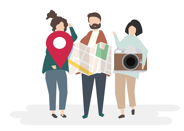 Illustration of characters with traveling concept Free Vector