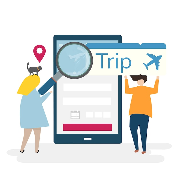 Illustration of characters with traveling and online booking concept Free Vector